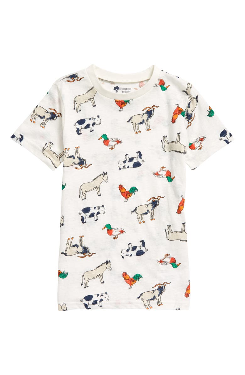 TUCKER + TATE Allover Print Graphic Tee, Main, color, IVORY CLOUD FARM FRIENDS