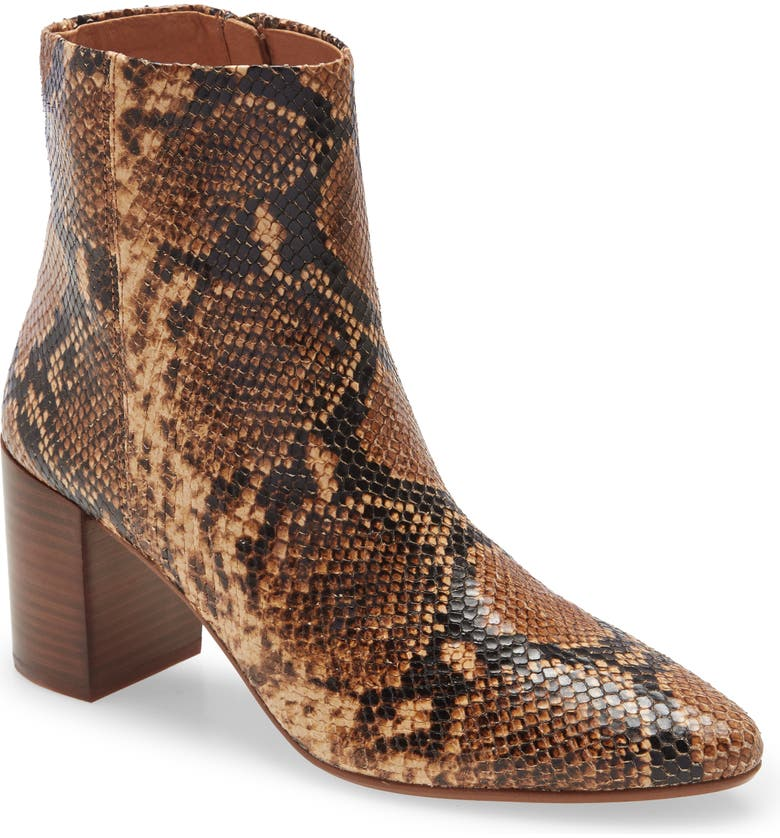 MADEWELL The Fiona Bootie, Main, color, WOOD ASH MULTI SNAKE PRINT