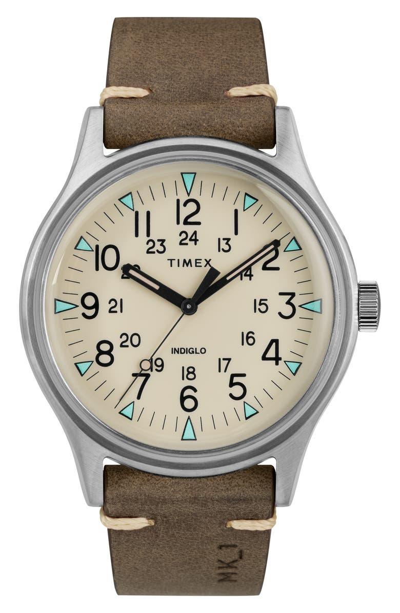 TIMEX<SUP>®</SUP> MK1 Leather Strap Watch, 40mm, Main, color, 200