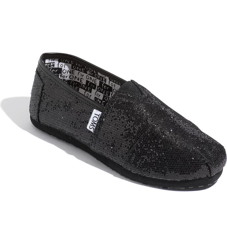 TOMS 'Classic Youth - Glitter' Slip-On, Main, color, 001