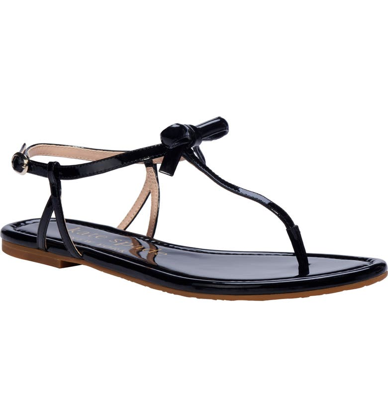 KATE SPADE NEW YORK piazza t-strap sandal, Main, color, BLACK PATENT LEATHER