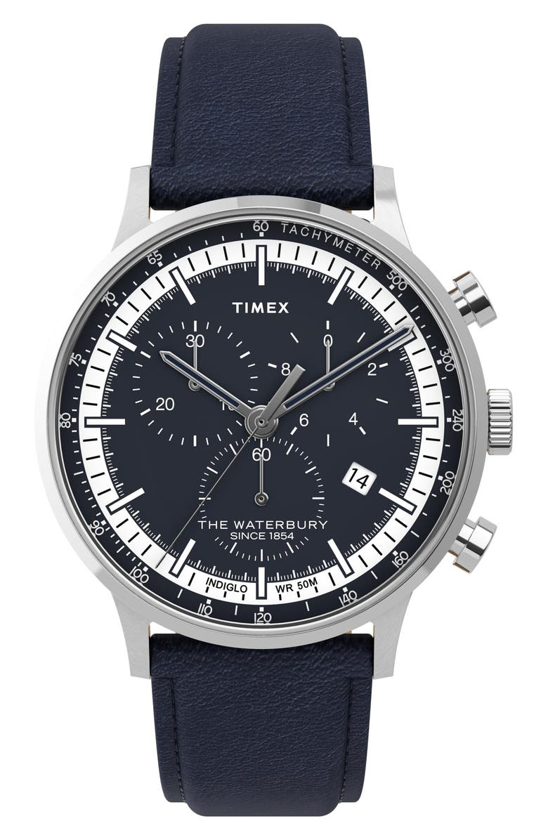 TIMEX<SUP>®</SUP> Waterbury Chronograph Leather Strap Watch, 40mm, Main, color, BLUE/ WHITE/ SILVER