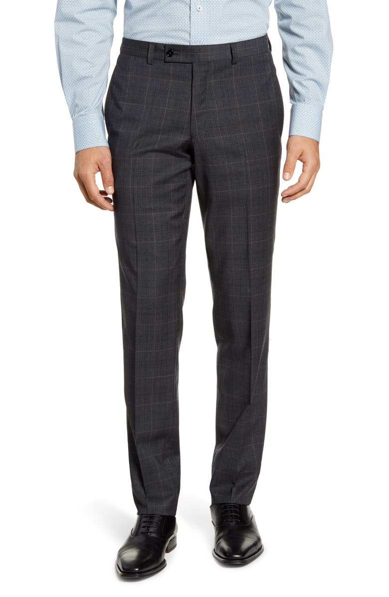 TED BAKER LONDON Johnson Flat Front Plaid Wool Dress Pants, Main, color, 020