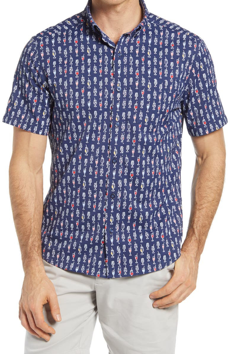 JOHNSTON & MURPHY XC4 Drink Print Stretch Short Sleeve Button-Down Shirt, Main, color, NAVY