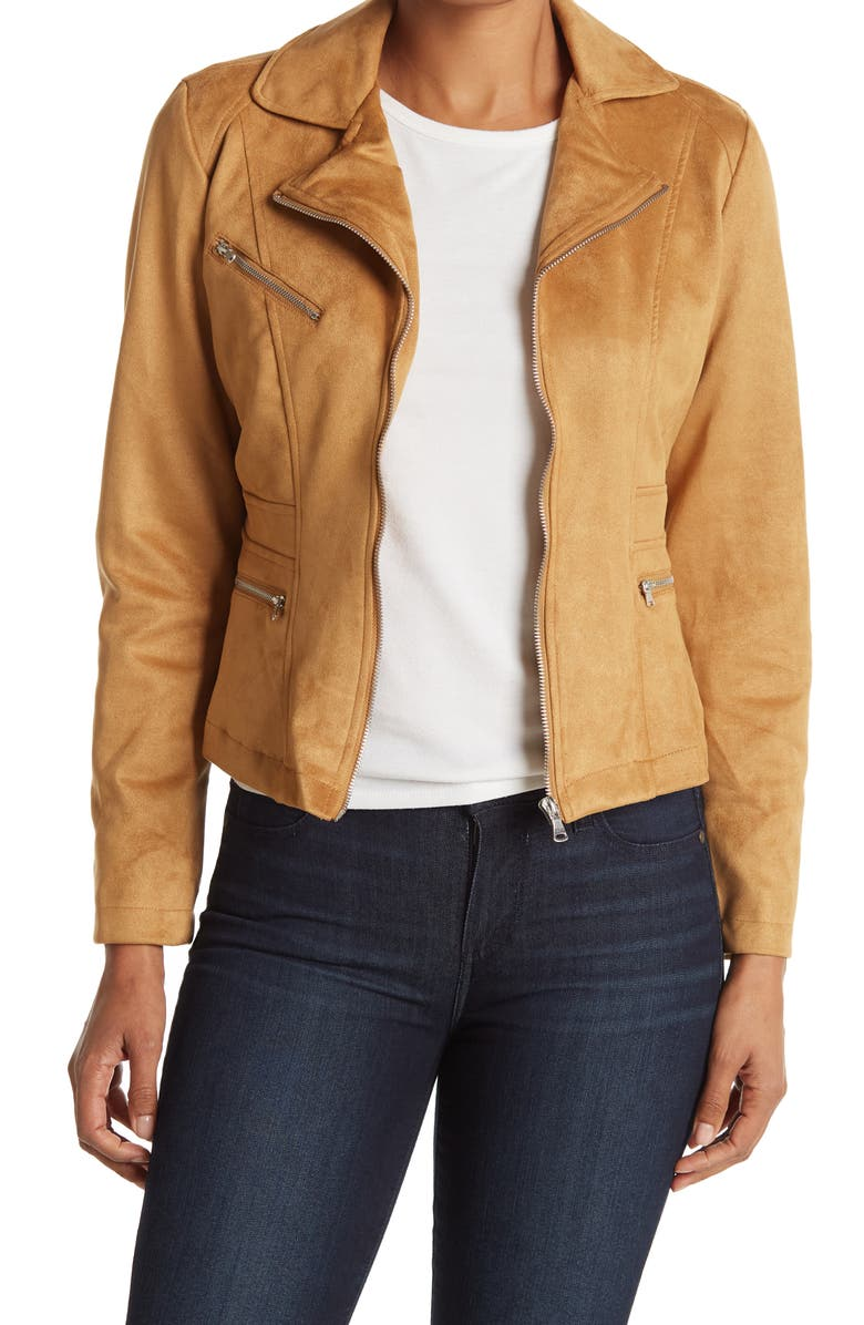 OOKIE AND LALA Faux Suede Crop Moto Jacket, Main, color, LUGGAGE
