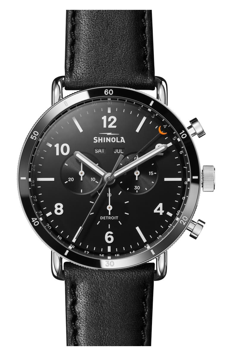 SHINOLA The Canfield Chrono Leather Strap Watch, 45mm, Main, color, BLACK/ SILVER