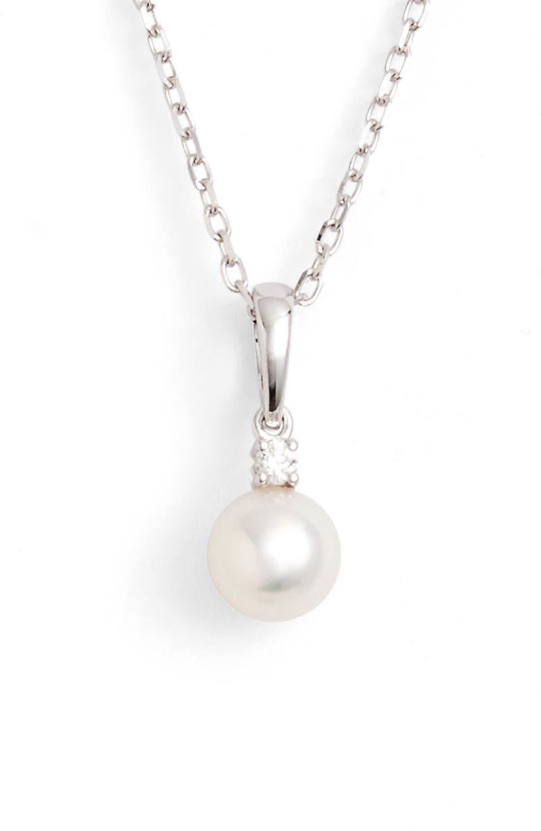 MIKIMOTO Pearl & Diamond Pendant Necklace, Main, color, 711