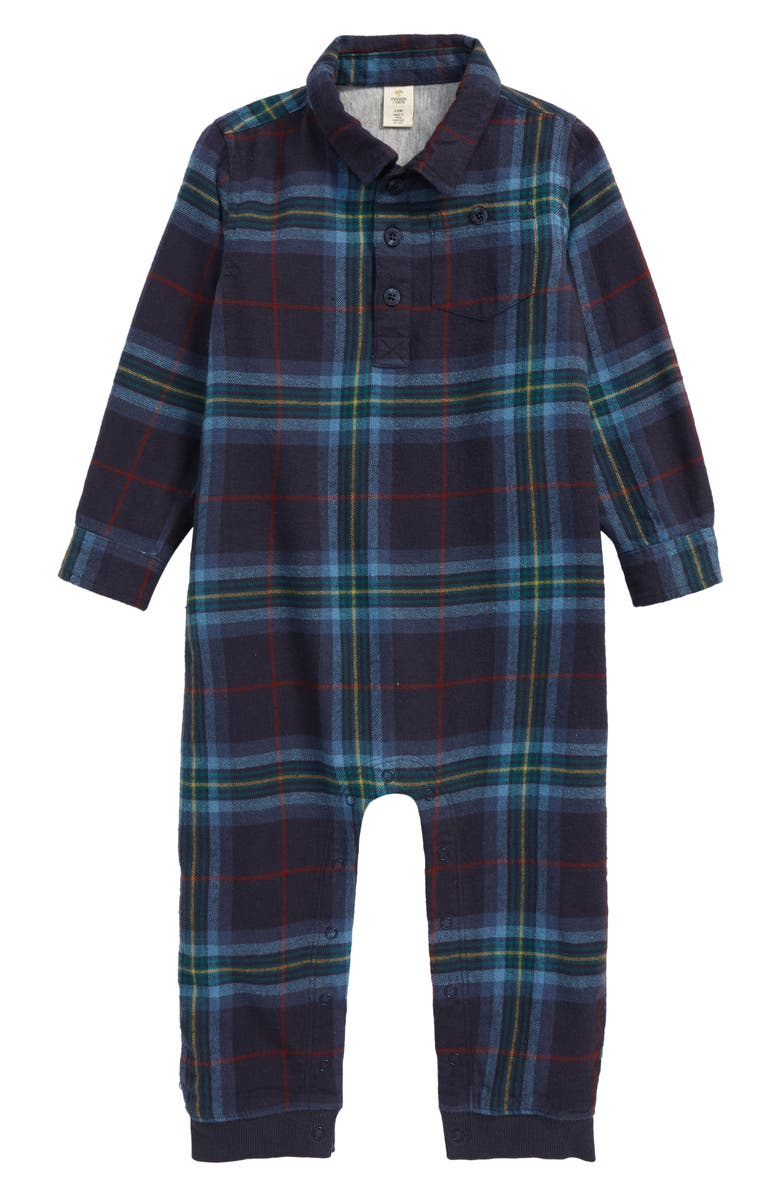 TUCKER + TATE Woodlands Romper, Main, color, NAVY CHARCOAL LEAH PLAID