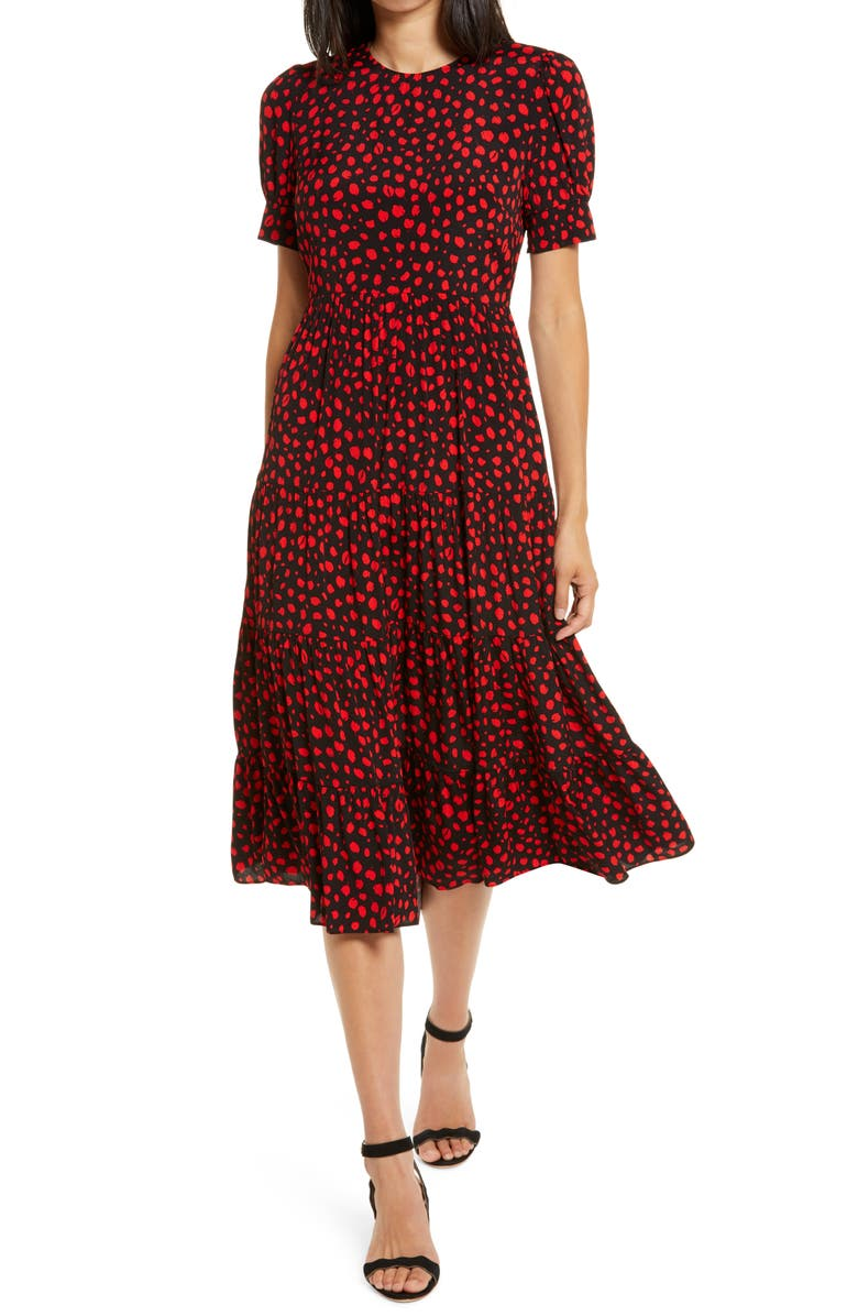 EVER NEW Betty Print Dress, Main, color, BLACK FLOATING SPOT