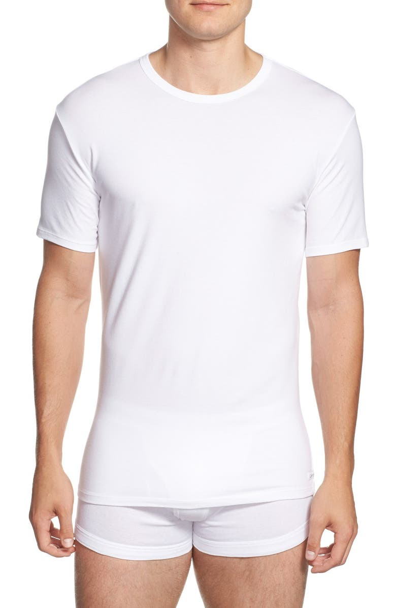 CALVIN KLEIN 2-Pack Stretch Cotton Crewneck T-Shirt, Main, color, WHITE