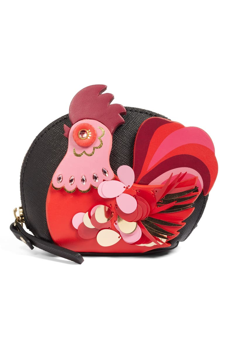 KATE SPADE NEW YORK imagination rooster coin purse, Main, color, 974
