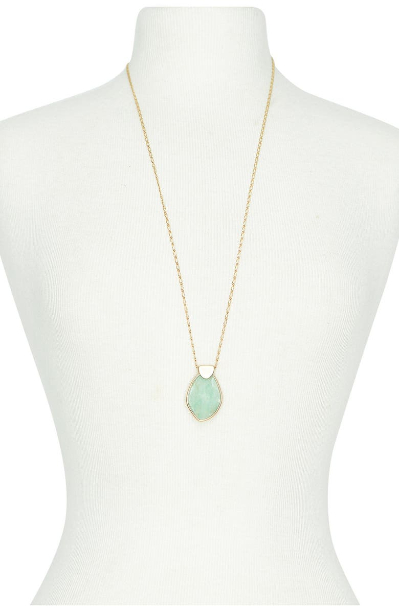 LUCKY BRAND Reversible Stone Pendant Necklace, Main, color, GOLD