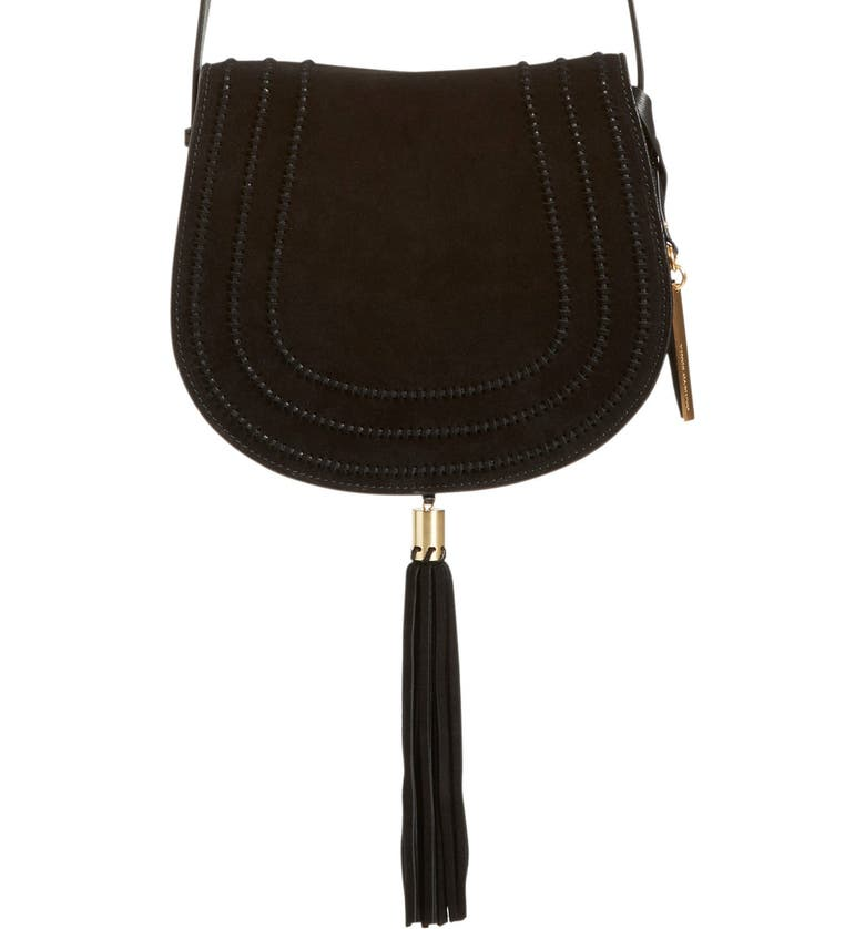 VINCE CAMUTO 'Izzi' Tassel Leather & Suede Crossbody Bag, Main, color, 001