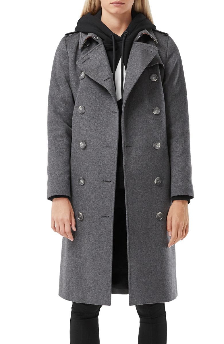 BURBERRY Kensington Cashmere Heritage Trench Coat, Main, color, MID GREY MELANGE