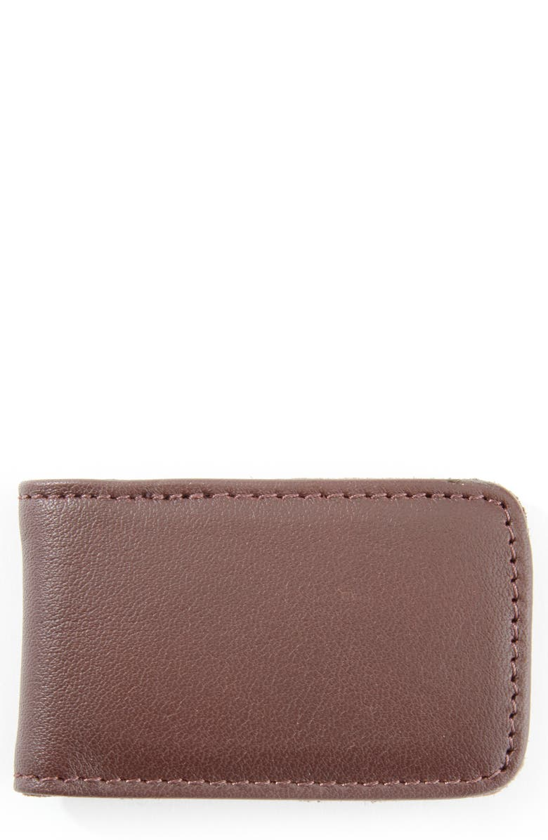 ROYCE Leather Money Clip, Main, color, BROWN