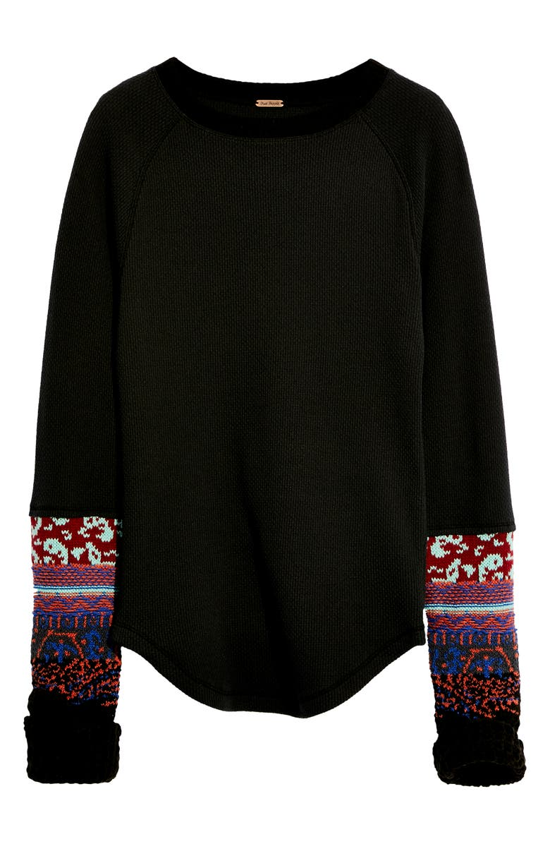 FREE PEOPLE In the Mix Jacquard Cuff Top, Main, color, BLACK COMBO