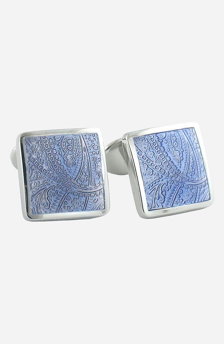 DAVID DONAHUE Sterling Silver Cuff Links, Main, color, SILVER / BLUE