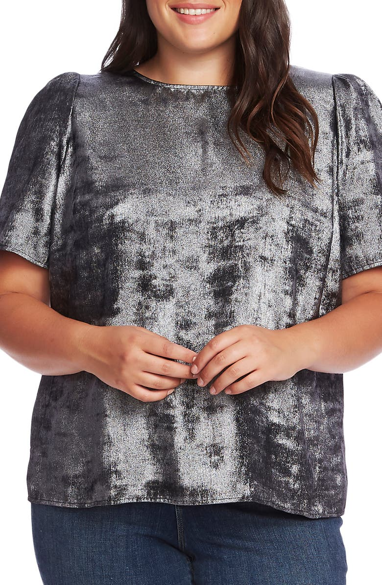 VINCE CAMUTO Puff Sleeve Metallic Top, Main, color, 001