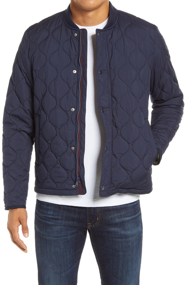BONOBOS The Quilted Bomber Jacket, Main, color, NAVY