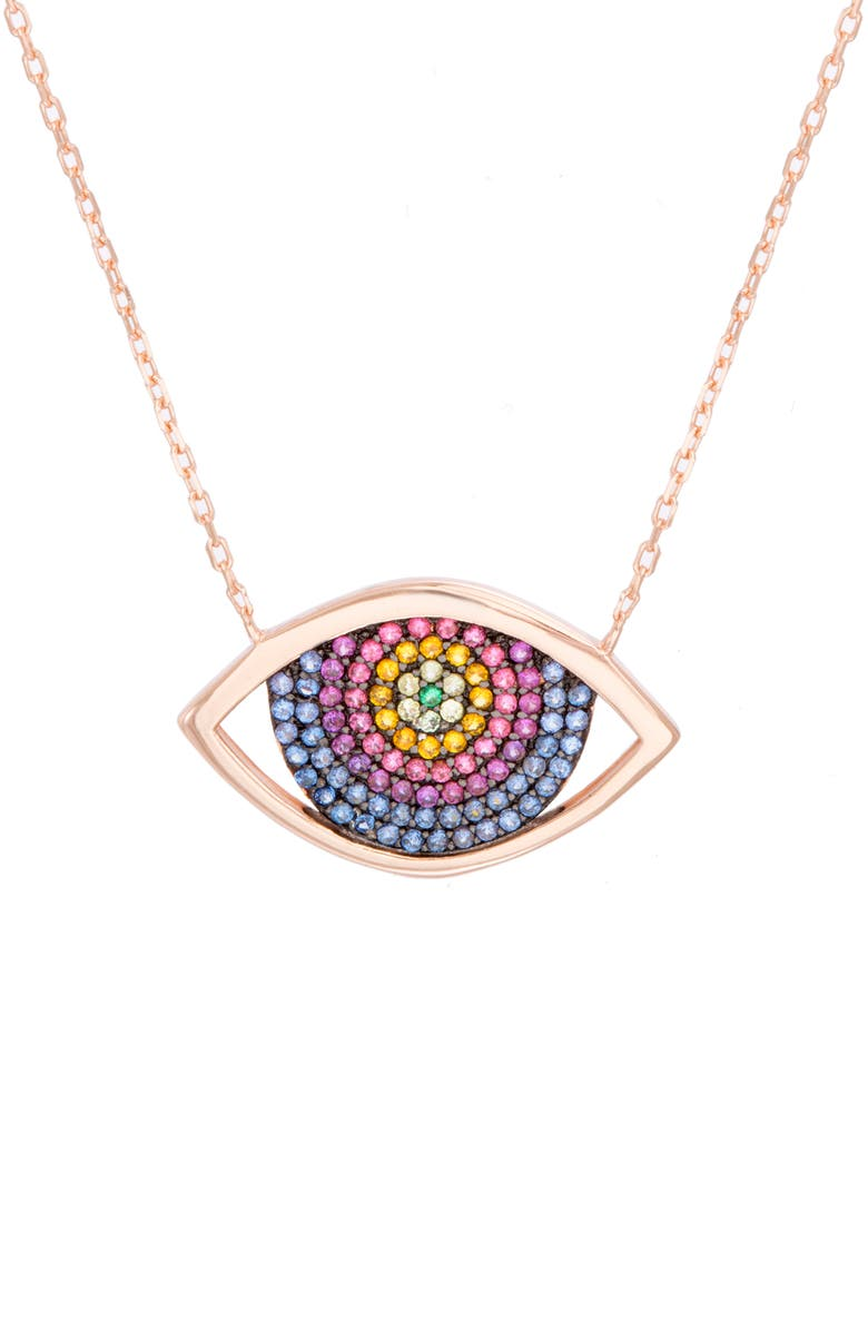 LESA MICHELE Eye Pavé Crystal Necklace, Main, color, 710