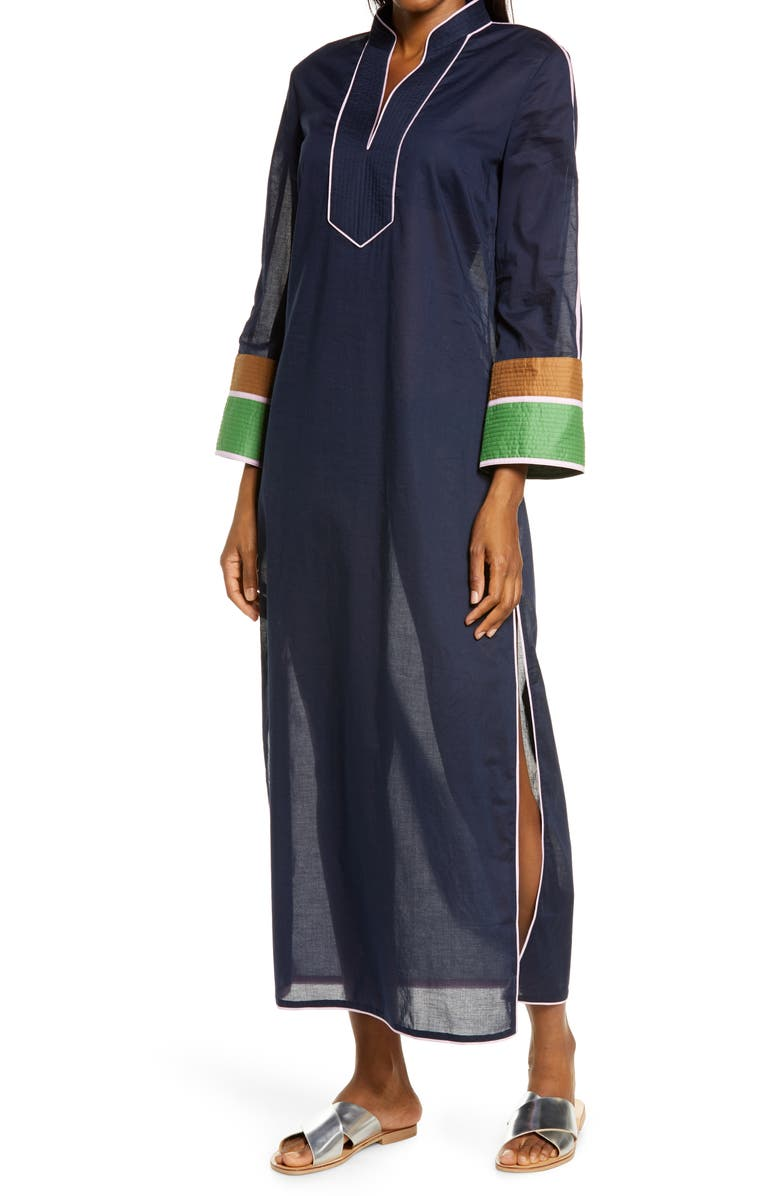 TORY BURCH Colorblock Cover-Up Caftan, Main, color, TORY NAVY