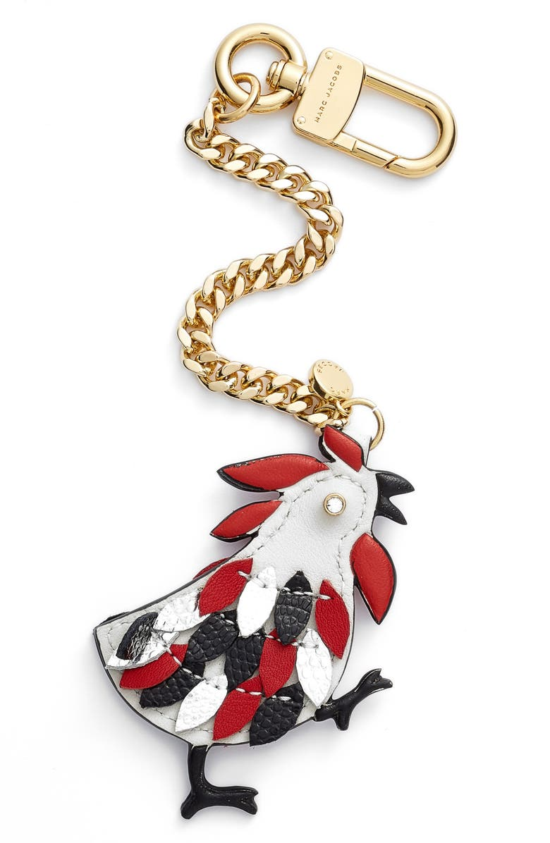 MARC JACOBS Rooster Leather Bag Charm, Main, color, 059
