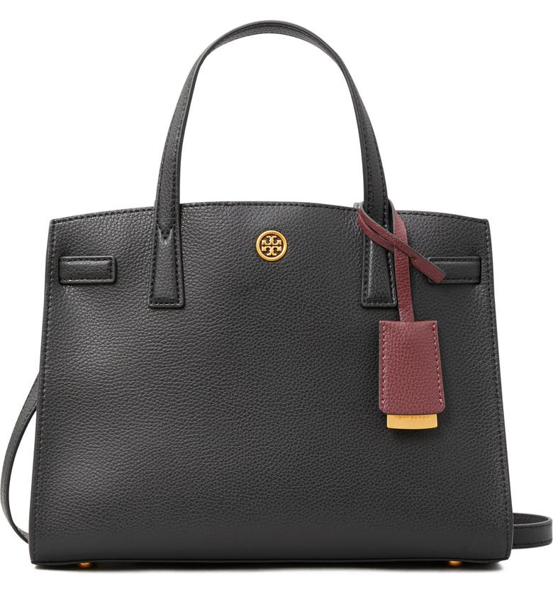 TORY BURCH Small Walker Leather Satchel, Main, color, BLACK