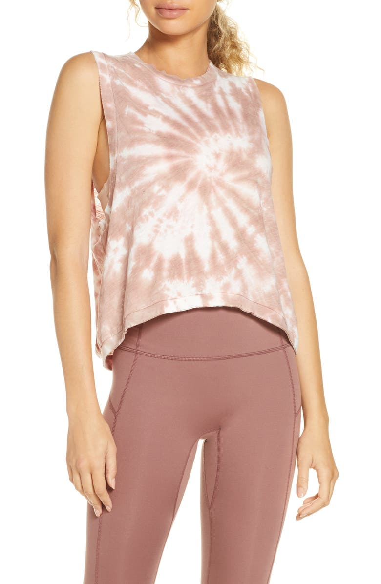 FREE PEOPLE FP MOVEMENT Free People Movement Love Tie Dye Tank, Main, color, TAUPE