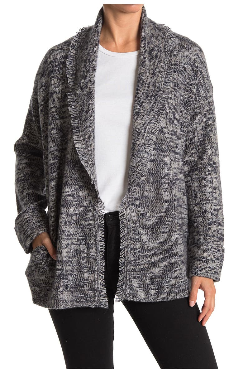 SKULL CASHMERE Holly Wool & Cashmere Blend Cardigan, Main, color, NAVY MULTI/CHALK SKULL