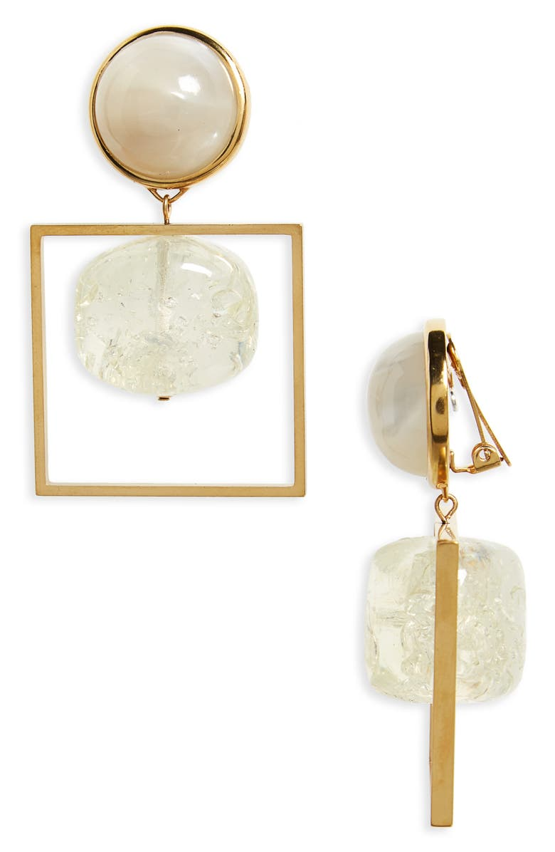 TORY BURCH Geo Statement Drop Earrings, Main, color, CLEAR / VINTAGE GOLD