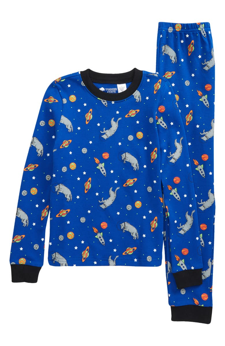 TUCKER + TATE Fitted Two-Piece Pajamas, Main, color, BLUE SURF SPACE WOLF GLOW