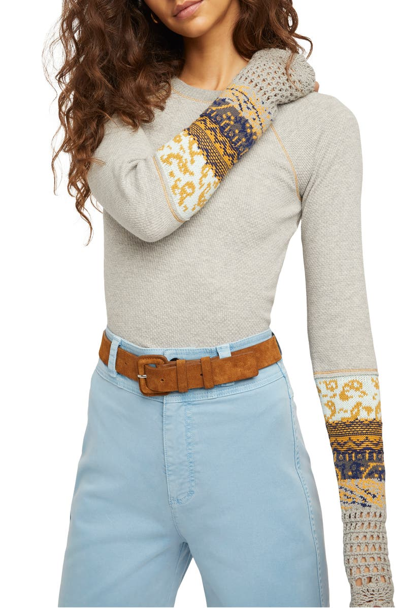 FREE PEOPLE In the Mix Jacquard Cuff Top, Main, color, HEATHER GREY