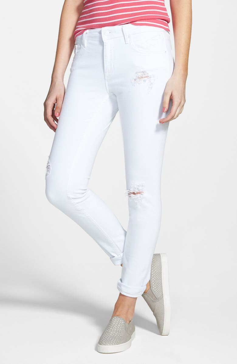 VIGOSS 'Tomboy' Destroyed Crop Skinny Jeans, Main, color, White