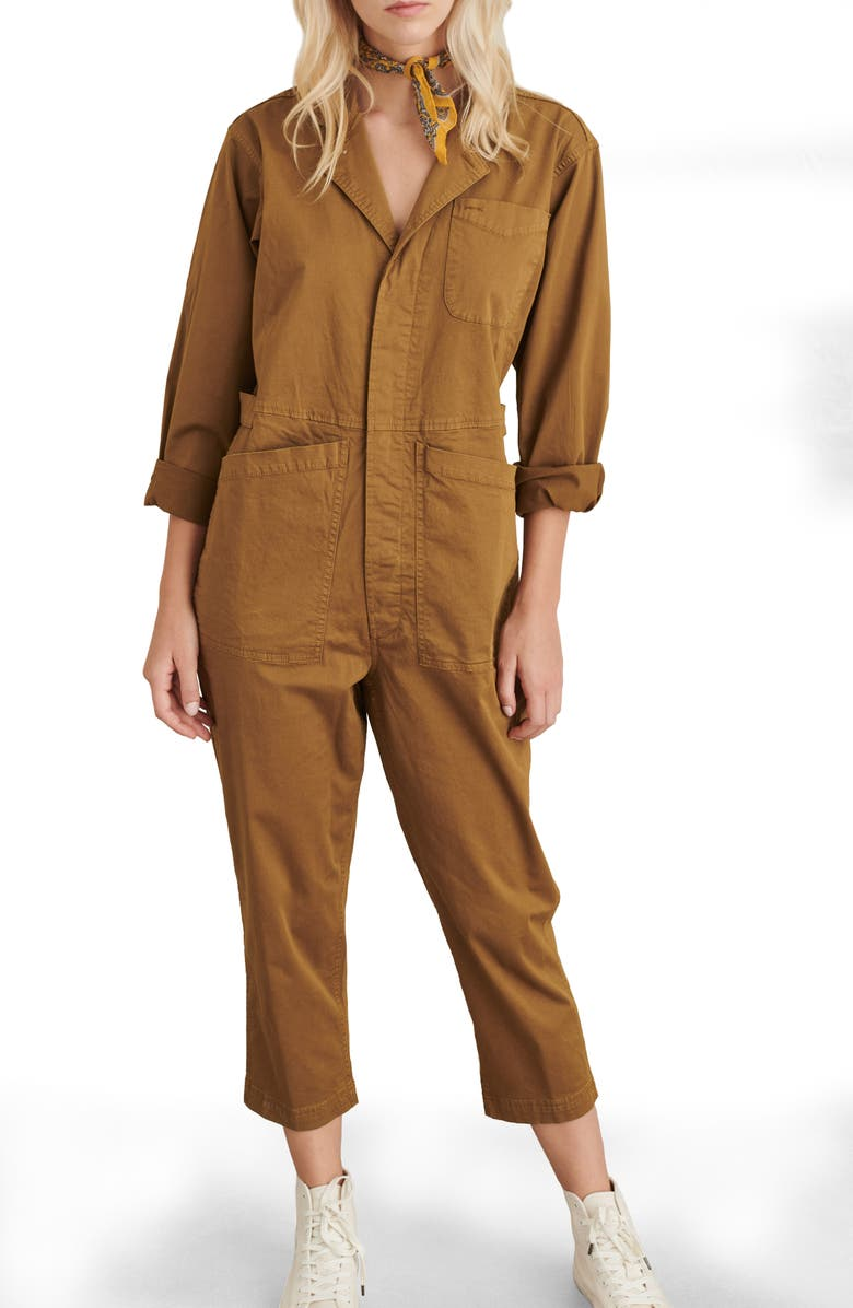 ALEX MILL Stretch Cotton Jumpsuit, Main, color, HICKORY