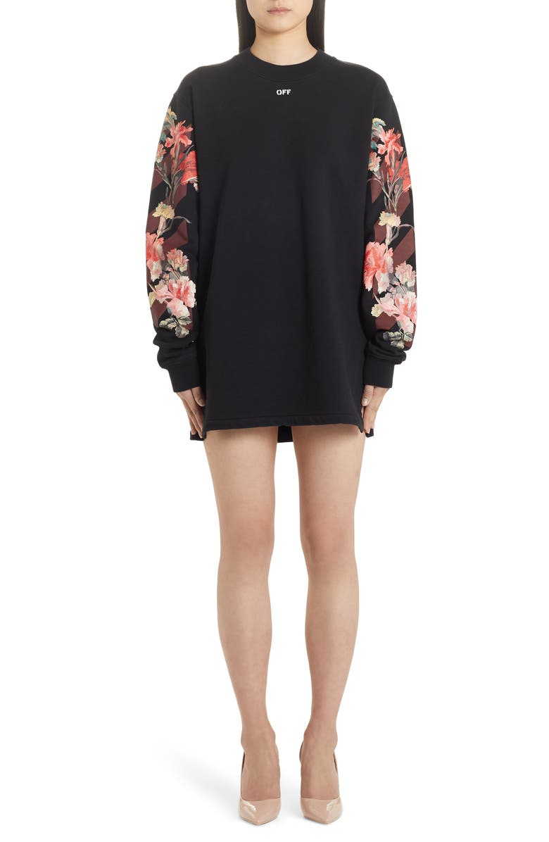 OFF-WHITE Flowers Carryover Long Sleeve Sweatshirt Dress, Main, color, 001