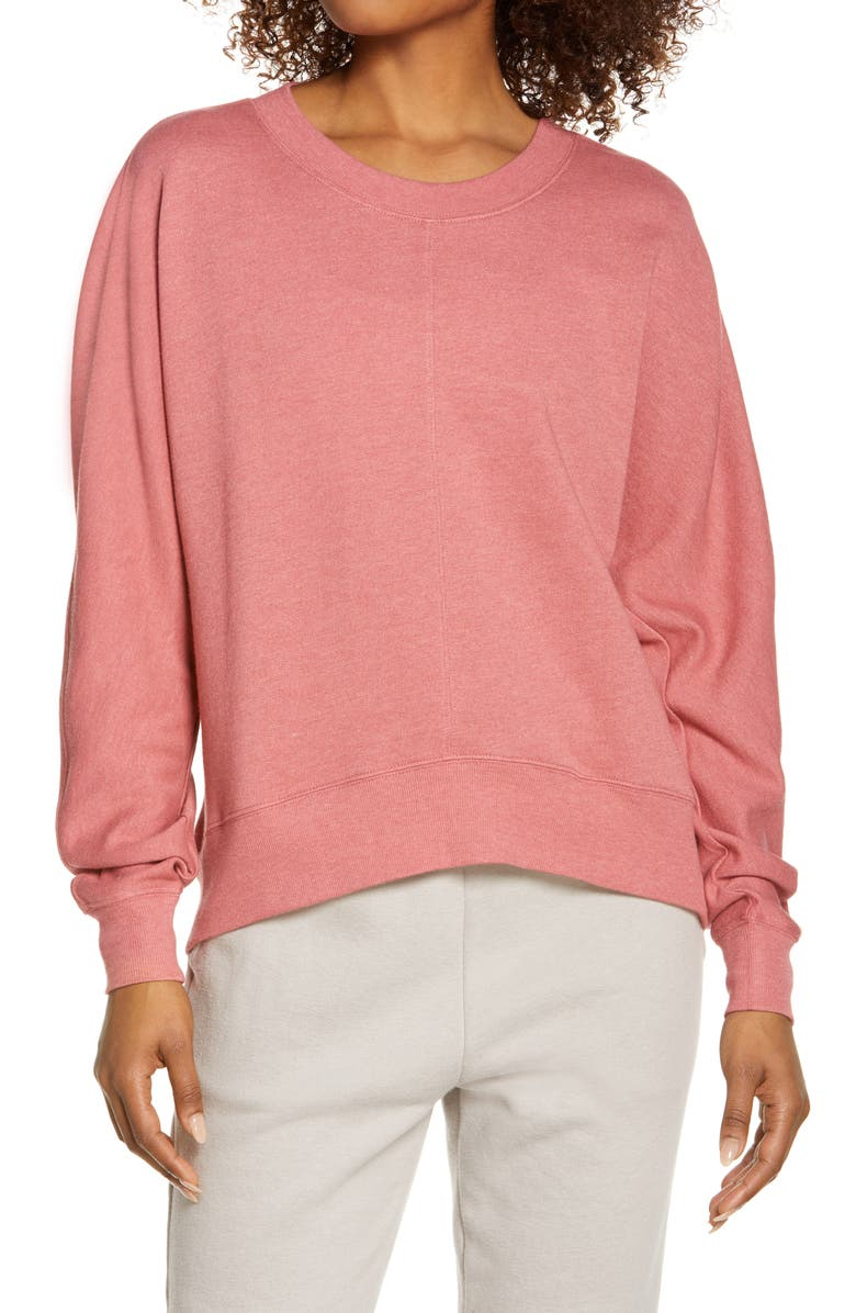 ZELLA Carey Crew High/Low Sweatshirt, Main, color, PINK MAUVE
