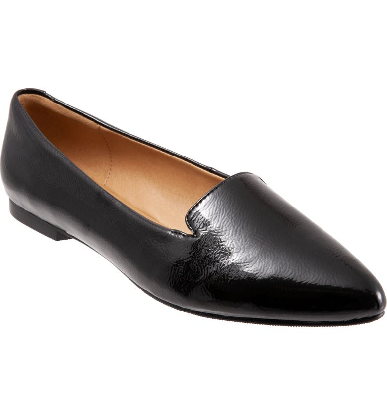 TROTTERS Harlowe Pointed Toe Loafer, Main, color, BLACK FAUX PATENT LEATHER