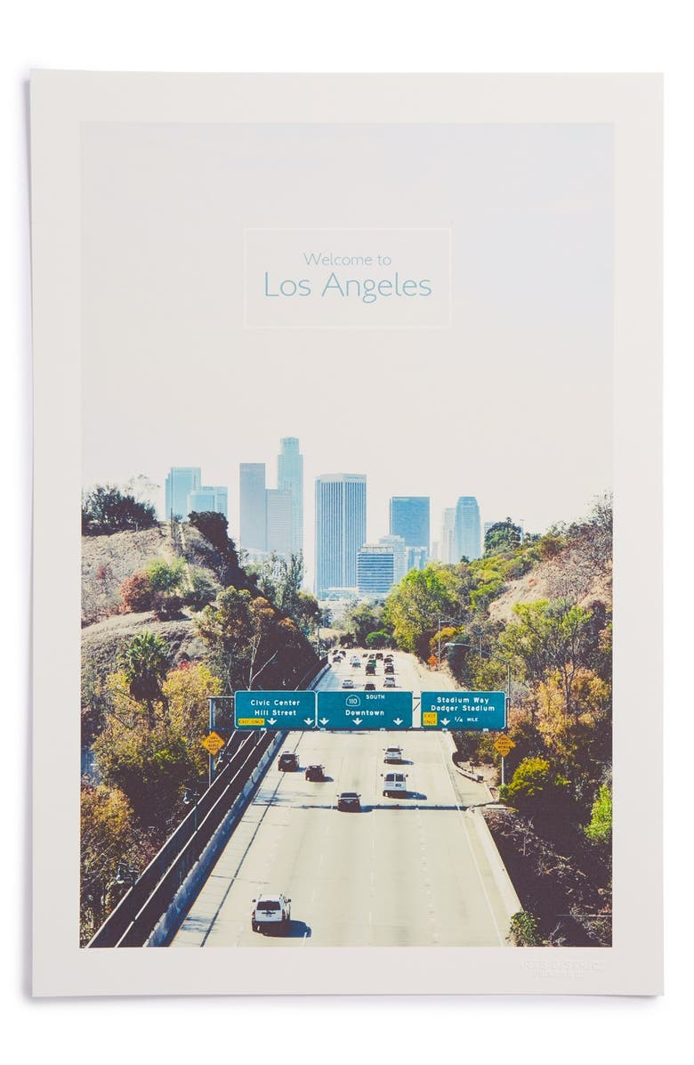 ARTS DISTRICT PRINTING CO. 'Welcome to Los Angeles' Print, Main, color, White