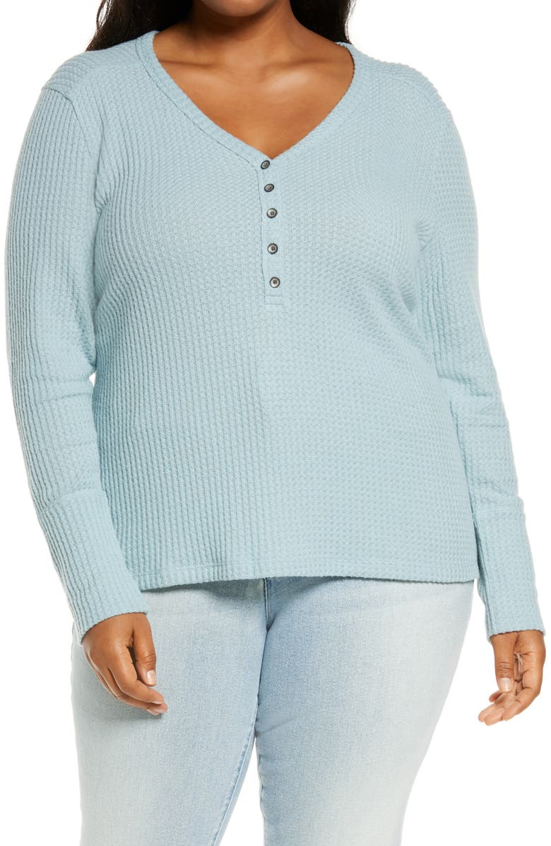 CASLON<SUP>®</SUP> High Cuff Thermal Henley Top, Main, color, BLUE MINERAL