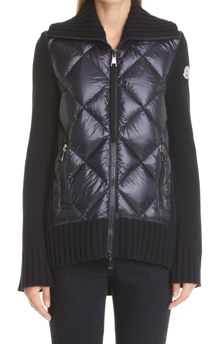 MONCLER Wool & Quilted Down Cardigan, Main, color, BLACK