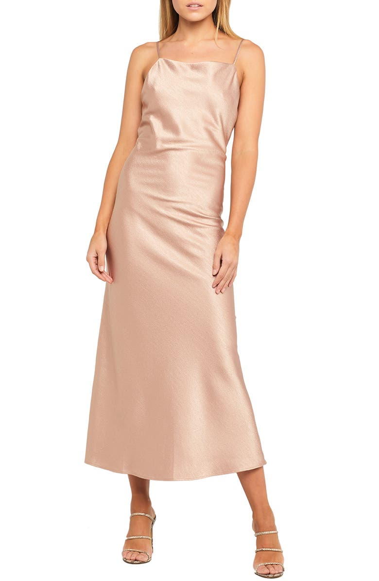 BARDOT Estelle Draped Satin Maxi Slipdress, Main, color, PINK ROSE
