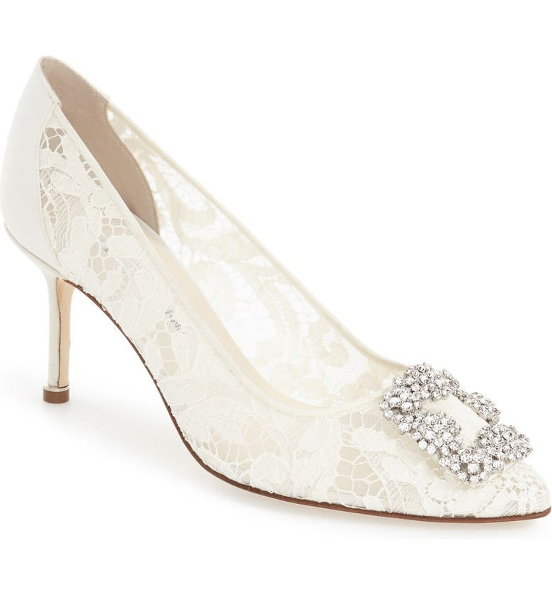 MANOLO BLAHNIK 'Hangisi' Pointy Toe Lace Pump, Main, color, WHITE LACE