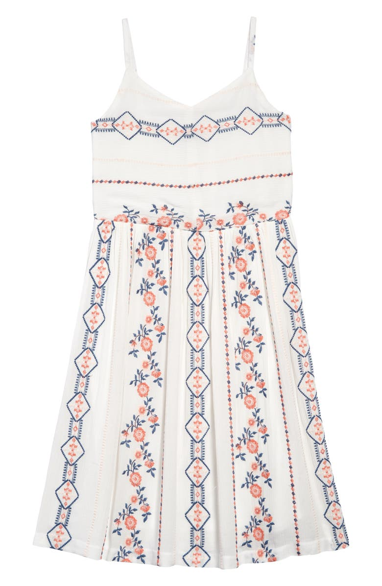 PIPPA & JULIE Embroidered Tank Dress, Main, color, OFF WHITE/ BLUE