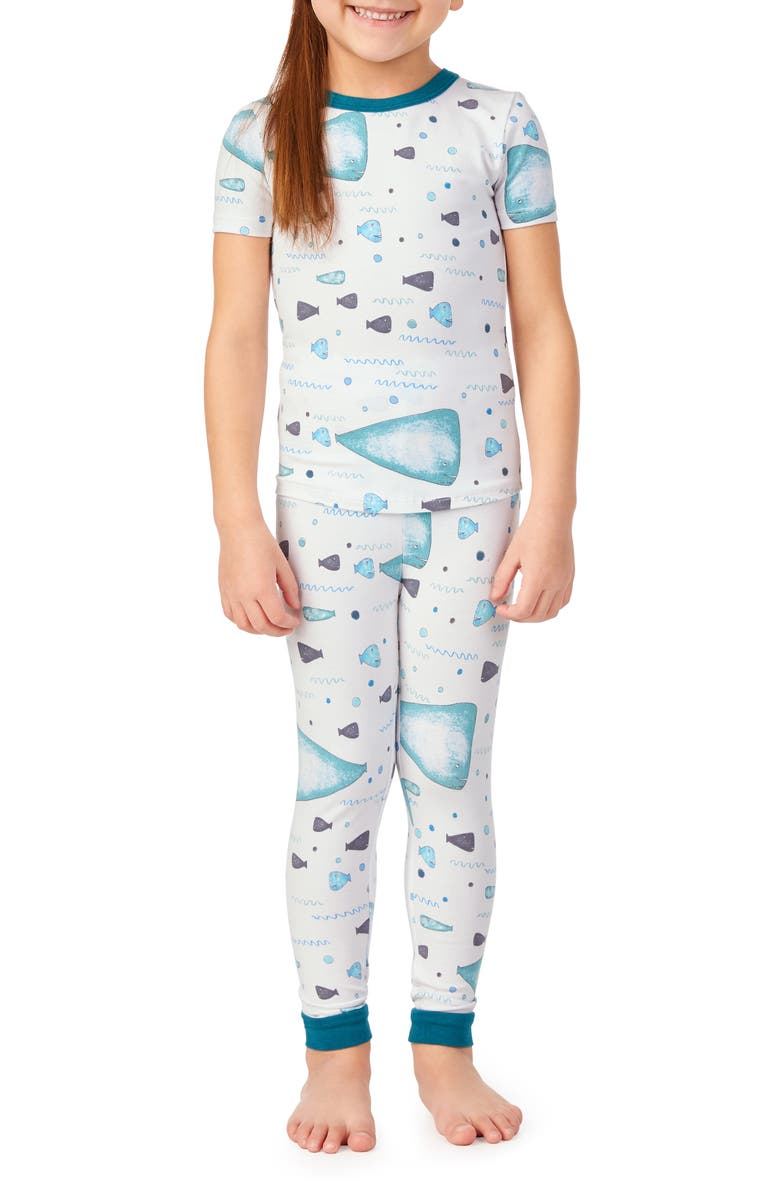 BEDHEAD PAJAMAS Fitted Two-Piece Pajamas & Book Set, Main, color, WHALE AND FRIENDS