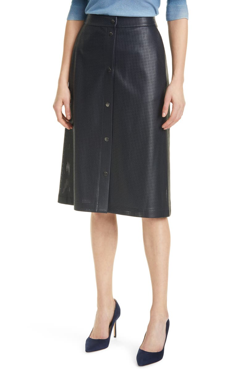 BOSS Vefy Perforated Faux Leather Skirt, Main, color, MIDNIGHT