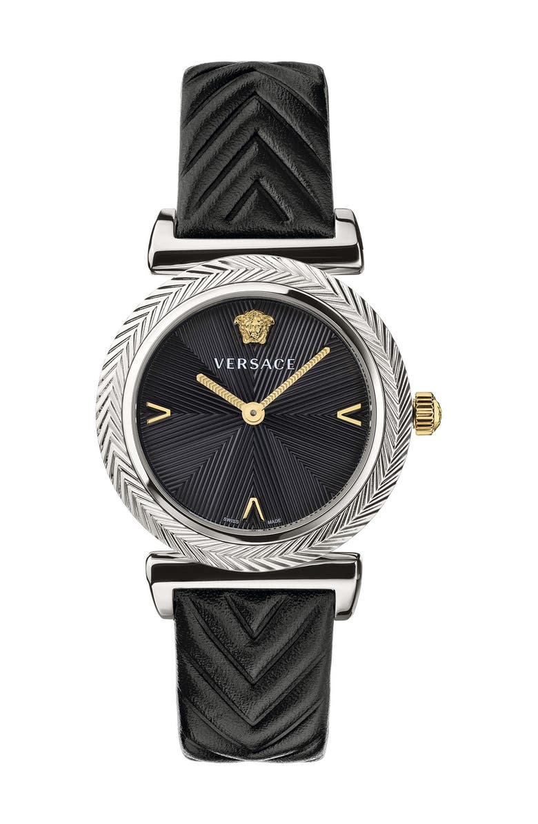 VERSACE VERSUS Versace V-Motif Leather Strap Watch, 35mm, Main, color, BURGUNDY/ WHITE/ YELLOW GOLD