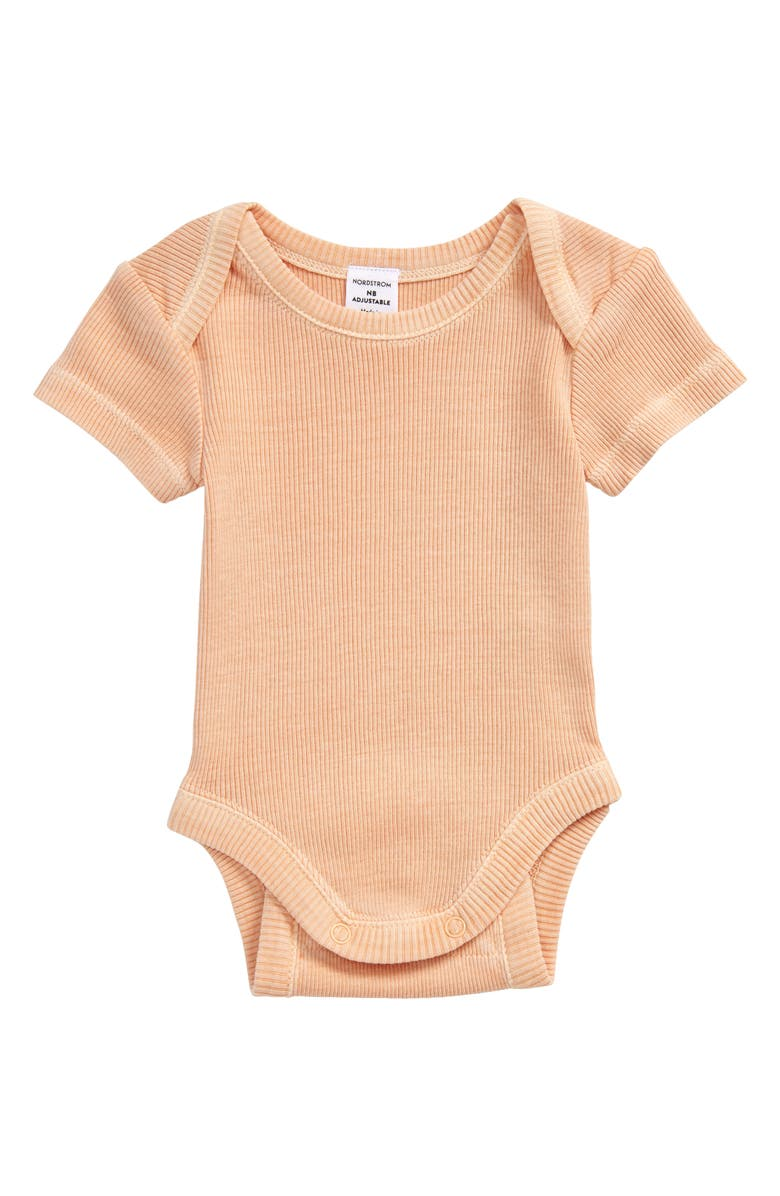 NORDSTROM Grow with Me Adjustable Bodysuit, Main, color, CORAL NOUGAT
