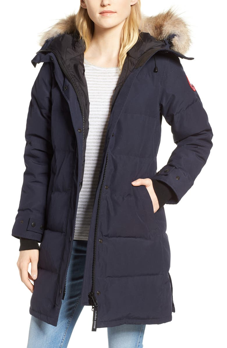 CANADA GOOSE Shelburne Genuine Coyote Fur Trim Down Parka, Main, color, NAVY