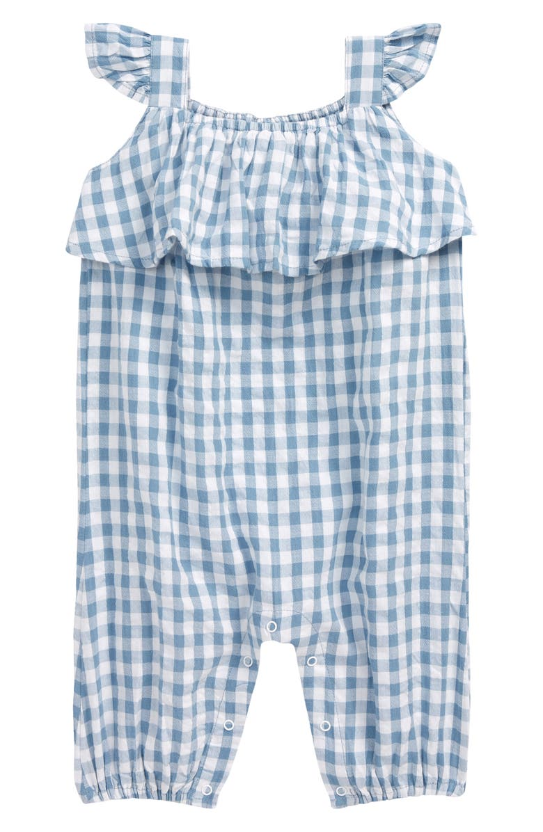 TUCKER + TATE Gingham Romper, Main, color, BLUE CHAMBRAY GINGHAM