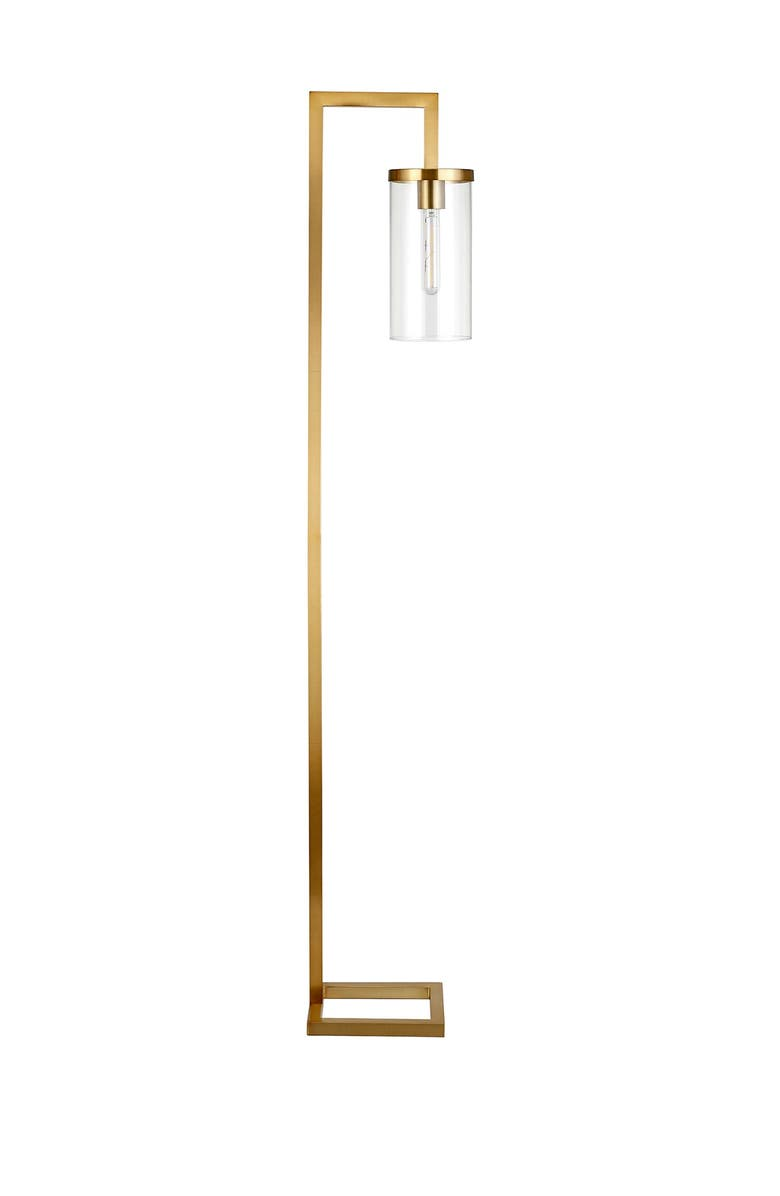ADDISON AND LANE Malva Brass & Clear Glass Finished Floor Lamp, Main, color, GOLD